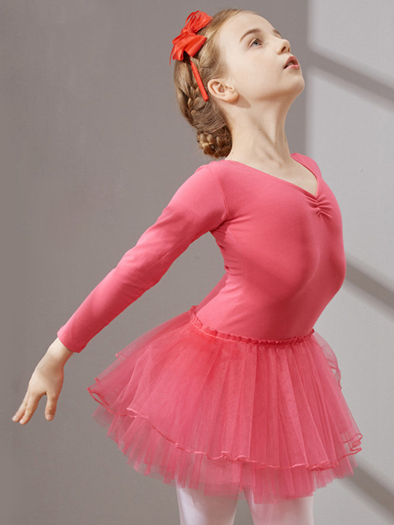 Pure cotton series long-sleeved v-neck ballet girl leotards