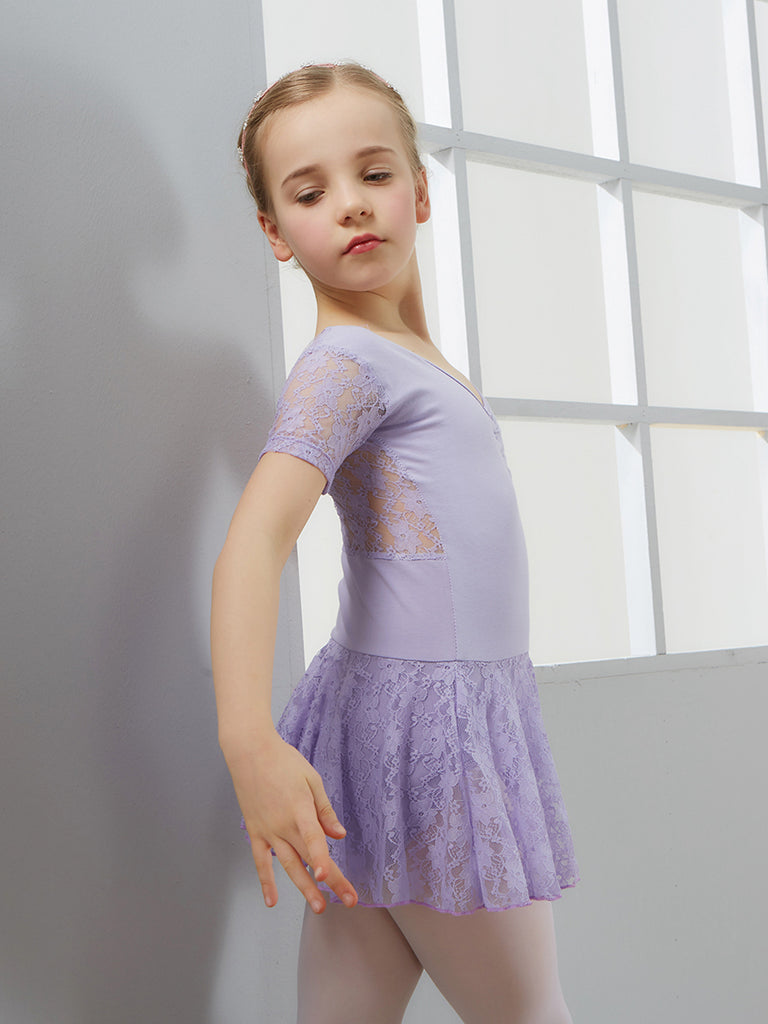 Back lace short sleeve v neck ballet tights dance practice tutu