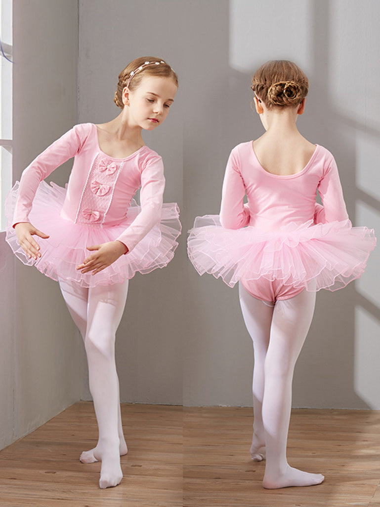 Long-sleeved skin-friendly lace and bow embellished ballet leotards