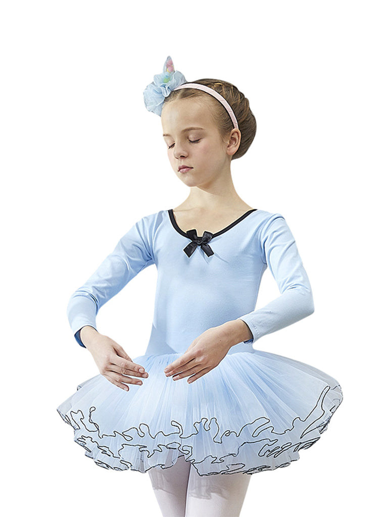 Long sleeve bow round collar fluffy elegant gorgeous stage performance tutu