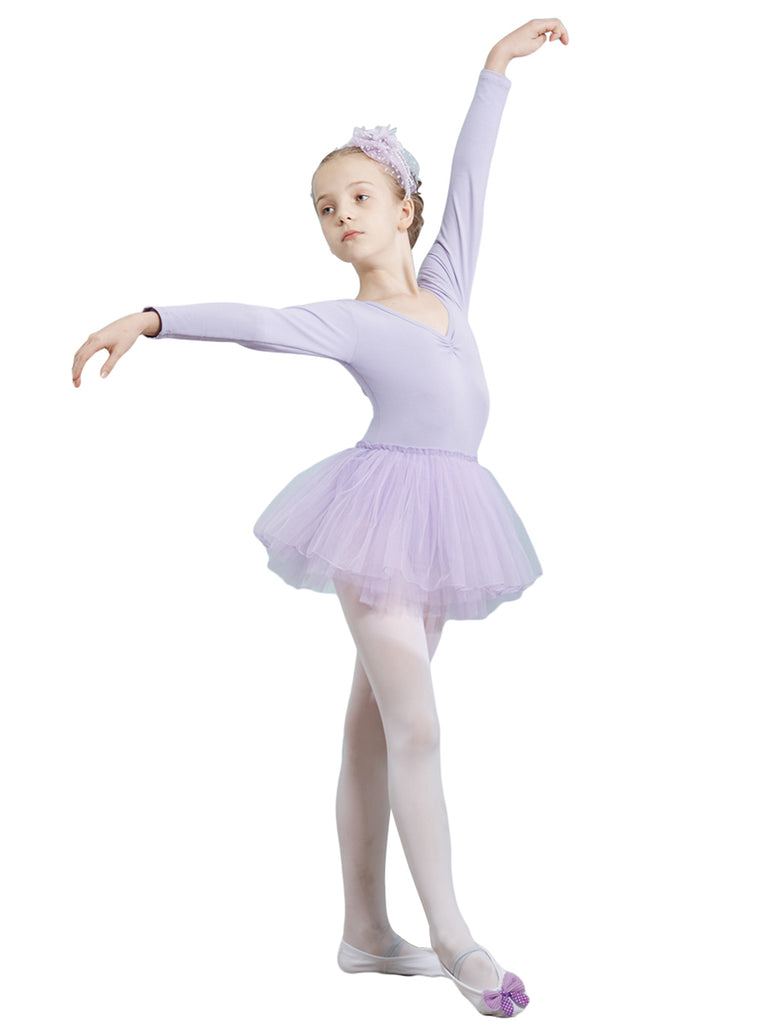 Strap V-neck long sleeve breathable light ballet practice leotard