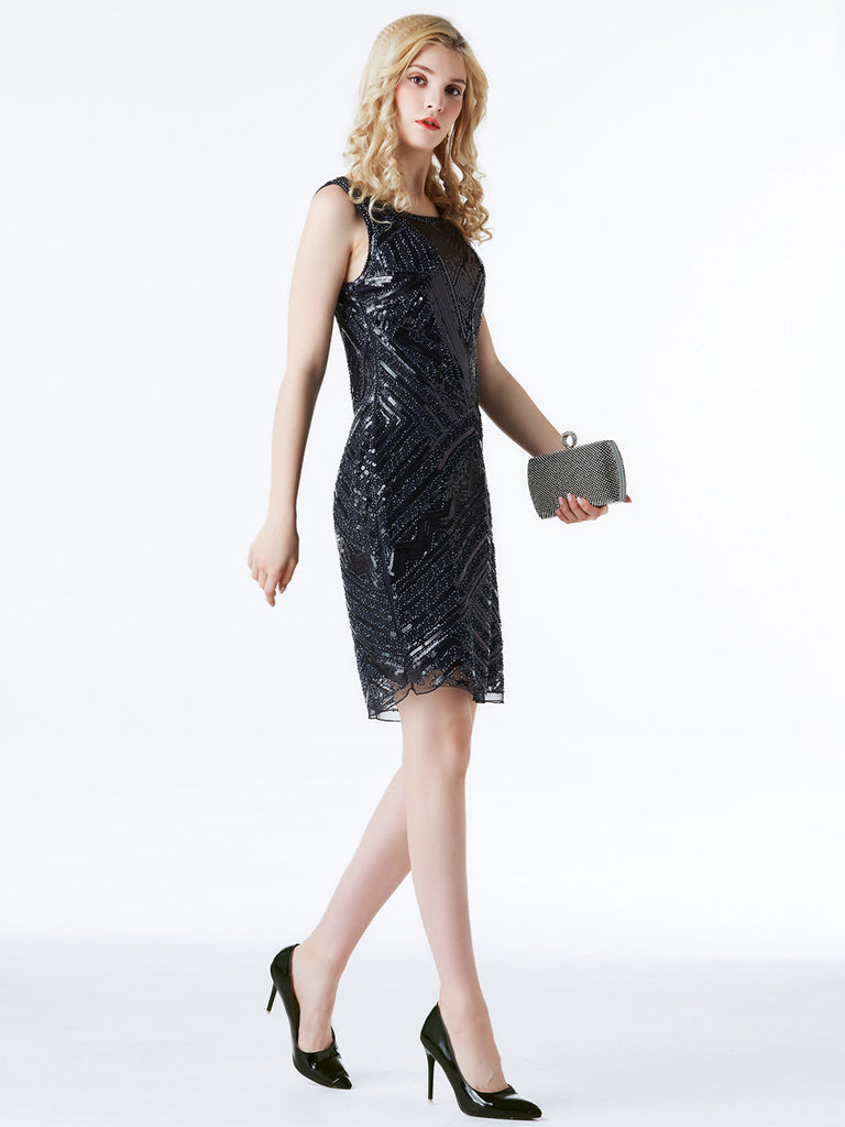 Metallic Gorgeous Sequined One-Piece Vintage Dress