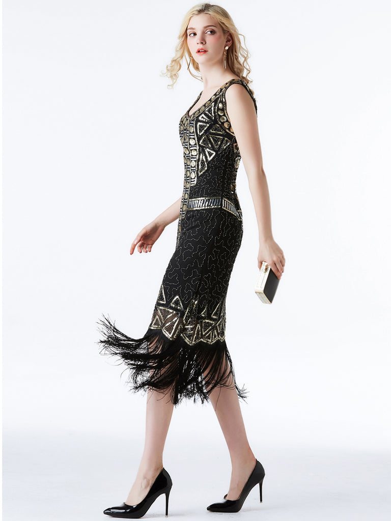 V Collar Retro Sequined Tassel Long Slim Vintage Dress