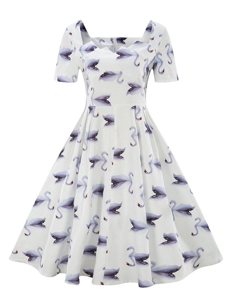 Women's 1955s Dress Elegant Neckline Short Sleeve Print Dress