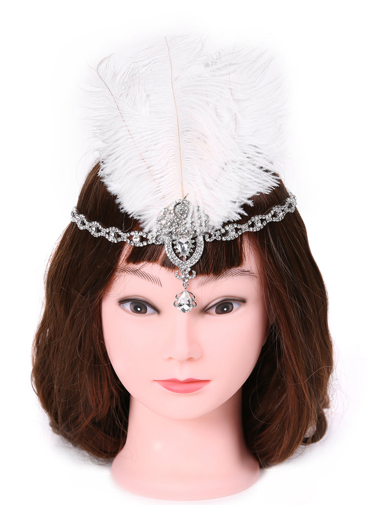 Ladies 1920s Flapper Accessories Set/Feather Headband, Necklace, Gloves, Cigarette Holder & Bracelet