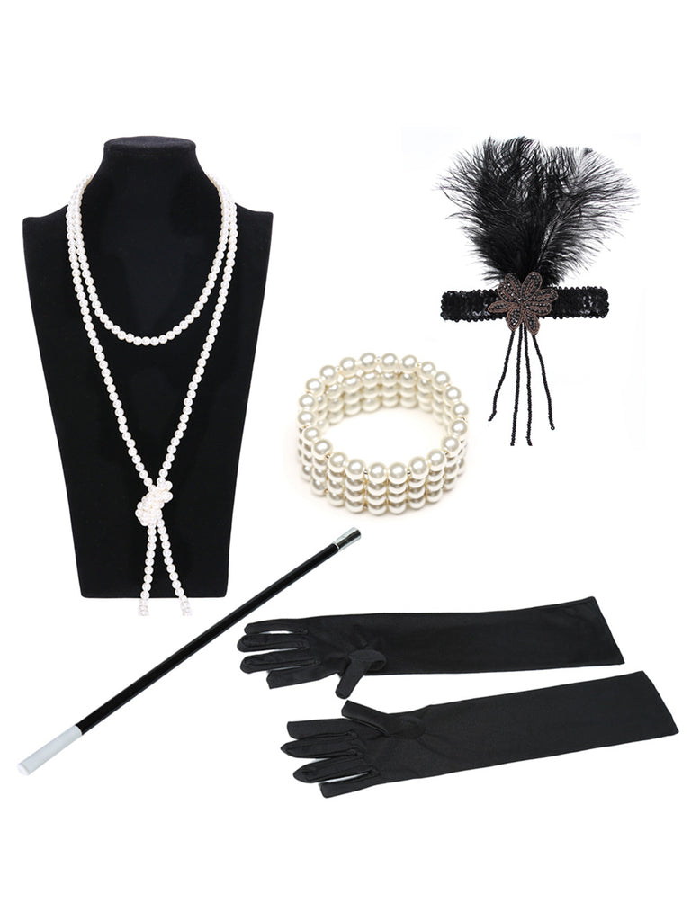 1920s Flapper Accessories Set/Feather Headband, Necklace, Gloves, Cigarette Holder & Bracelet