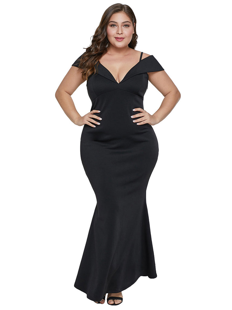 Plus Size Dress High Quality V Neck Slim Mermaid Dress