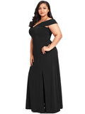 Plus Size Dress Solid Color Plain Style Split Maxi Long Dress