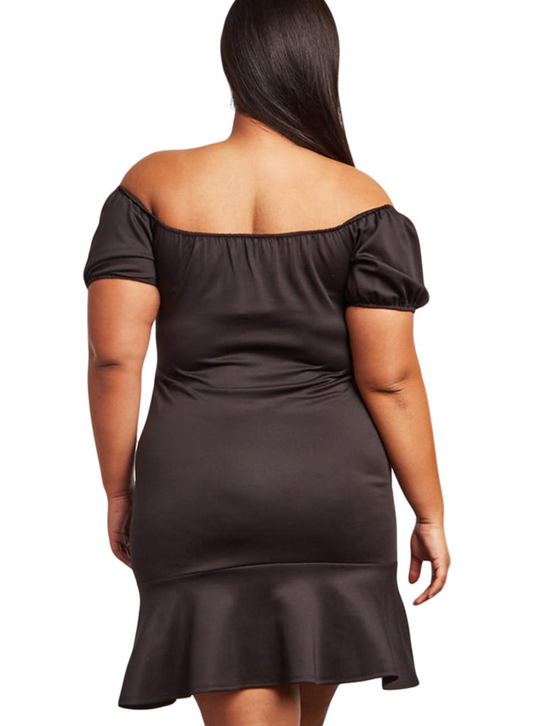 Plus Size Dress Slim Off Shoulder Ruffled Midi Dress