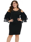 Plus Size Dress Hollow Out Shoulder Ruffled Sheath Dress