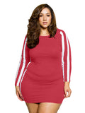 Plus Size Dress O Neck Long Sleeve Sporty Style Mini Dress