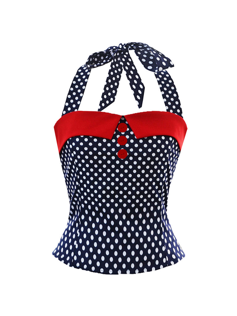 1950s Tops Sexy Polka Dot Hanging Neck Straps Top