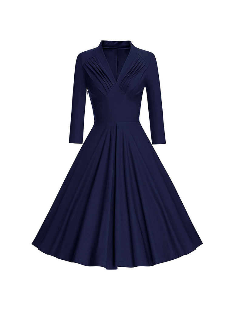 Vintage Dress V-neck Chest Pleated Long Sleeve Swing Dress
