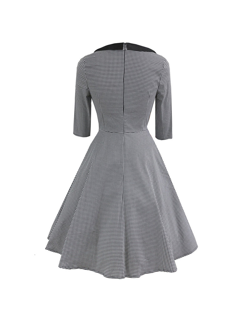 Retro Dress Lapel Seven-point Sleeves Houndstooth Swing Dress