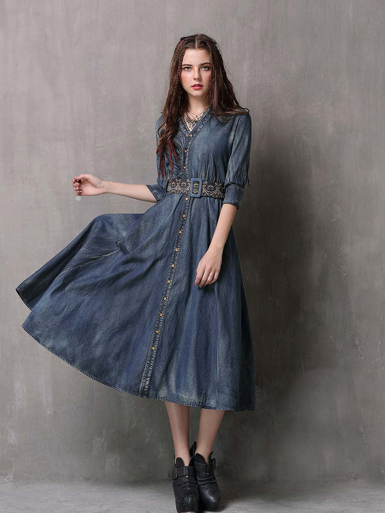 Swing Dress Mid-sleeve Embroidered Slim-fit Denim Dress With Belt