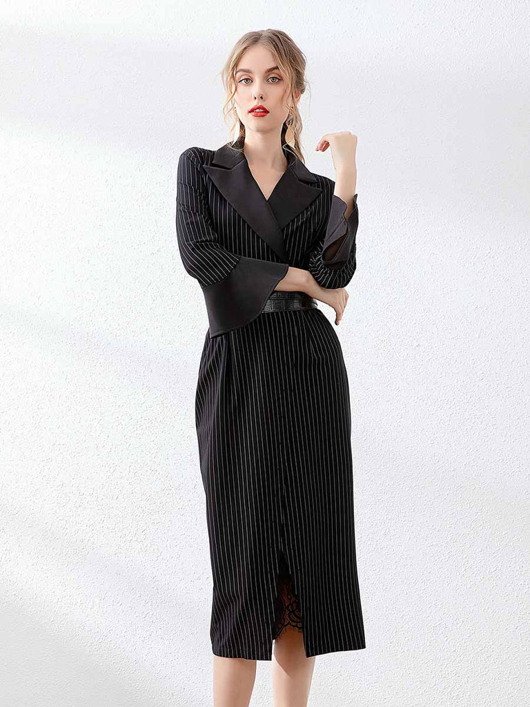 Pencil Dress Lapel Flared Sleeves Cross Belt Stripe Dress