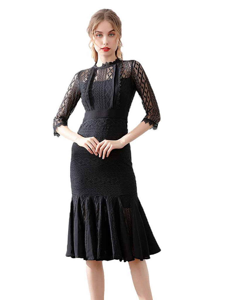 Elegant Black Lace High Waist Skinny Fishtail Dress