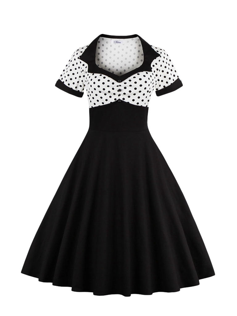 Aline Dress Short Sleeve Polka Dot Vintage Dress for Women