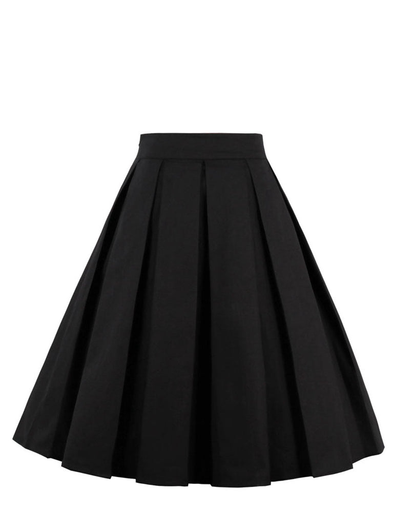 Black Skirt Fresh Style Floral Pleated Skirt for Women