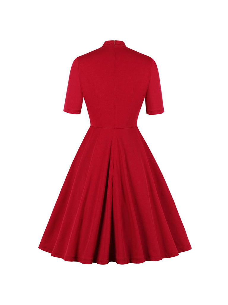 1950s Dress Bowknot Collar Slim Swing Midi Vintage Red Dress