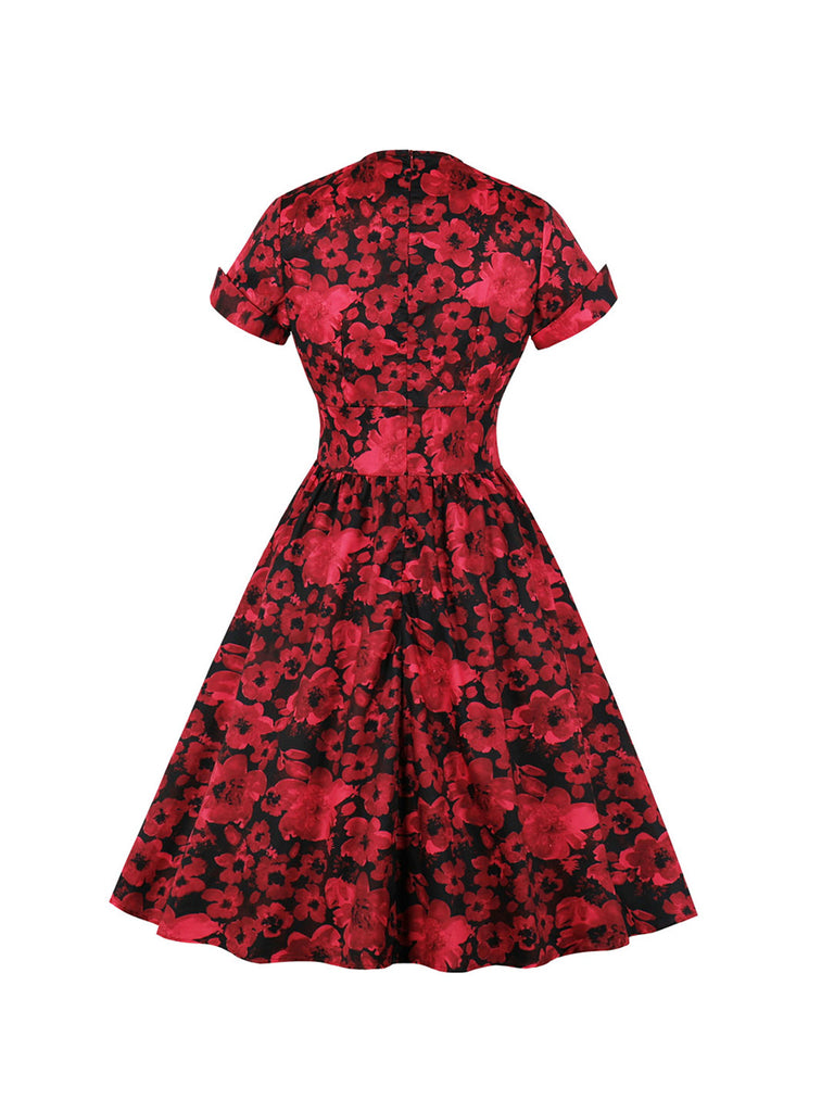 Swing Dress Vintage Printed Waisted Dress