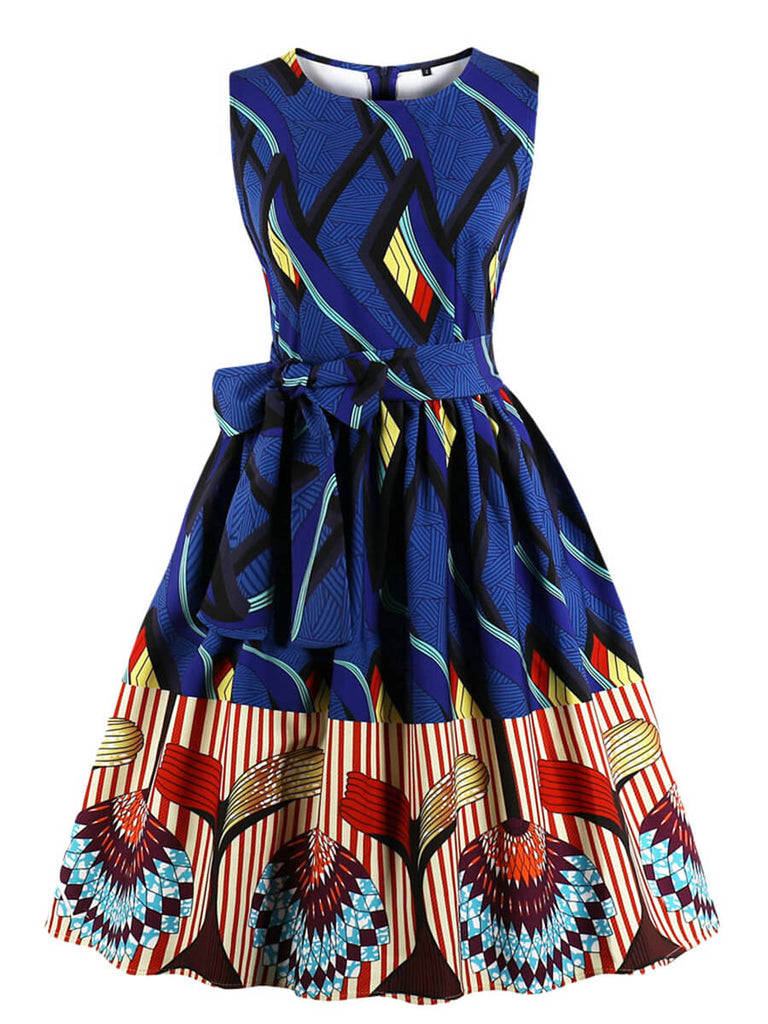 Ethnic Dress Print O Neck Sleeveless Dress for Women