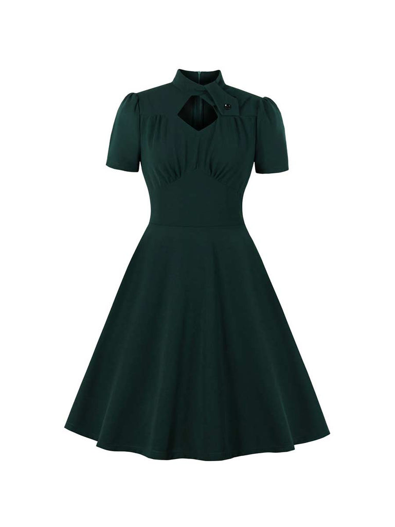Swing Dress Elegant Openwork Design Solid Color Dress