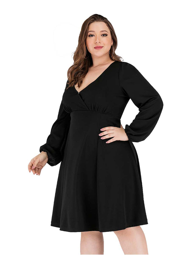 Plus Size Dress V-neck Long Sleeve A-line Knee-length Dress