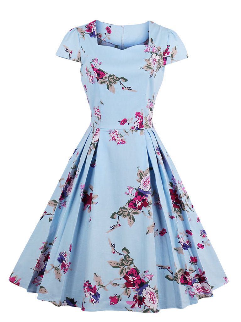 Aline Dress Square Neck Floral Short Sleeve Retro Style Dress for Women