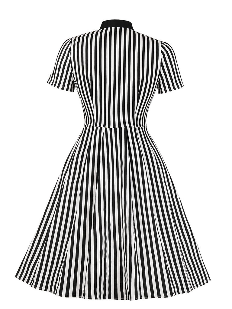 Vintage Dress Stripes Sleeveless Patchwork Midi Dress for Women