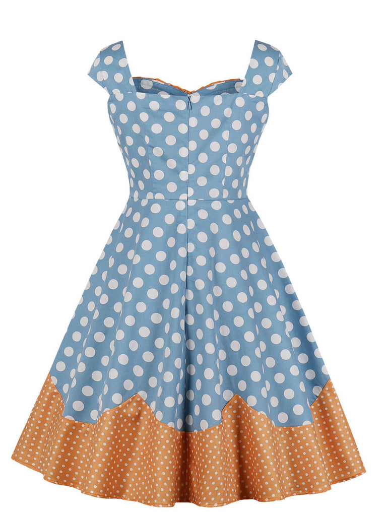 Vintage Dress Polka Dot Sleeveless Patchwork Midi Dress for Women