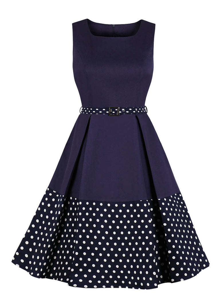 1950s Dress Patchwork Retro Style Sleeveless Dress