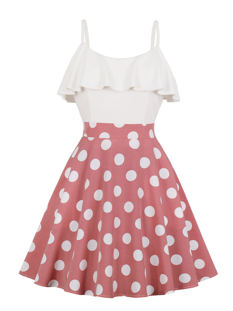 1950s Dress Polka Dot Ruffled Slip Dress
