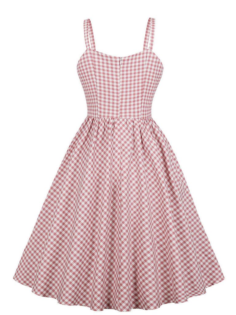 1950s Dress Plaid Pattern Classical Slip Dress