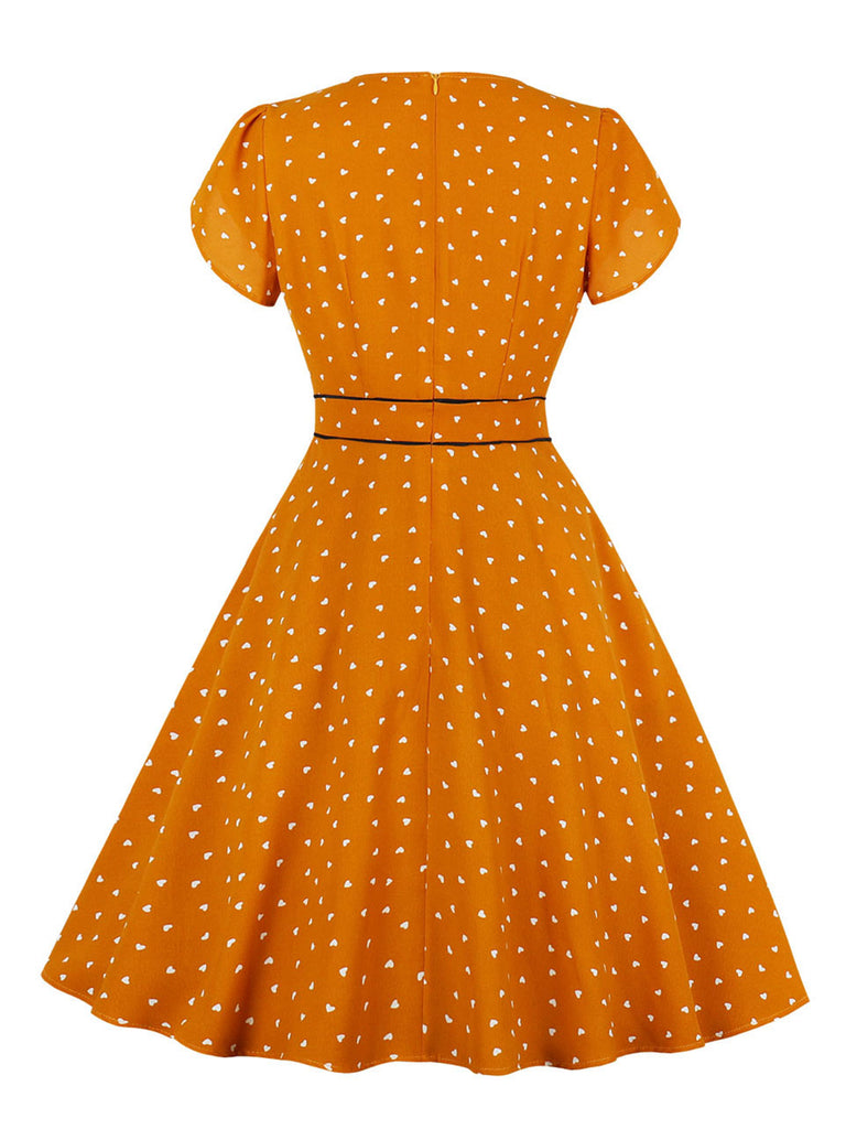 1950s Dress Heart Pattern V Neck A-Line Dress