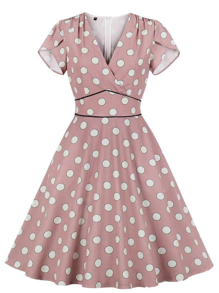 1950s Dress Polka Dot V Neck A-Line Dress