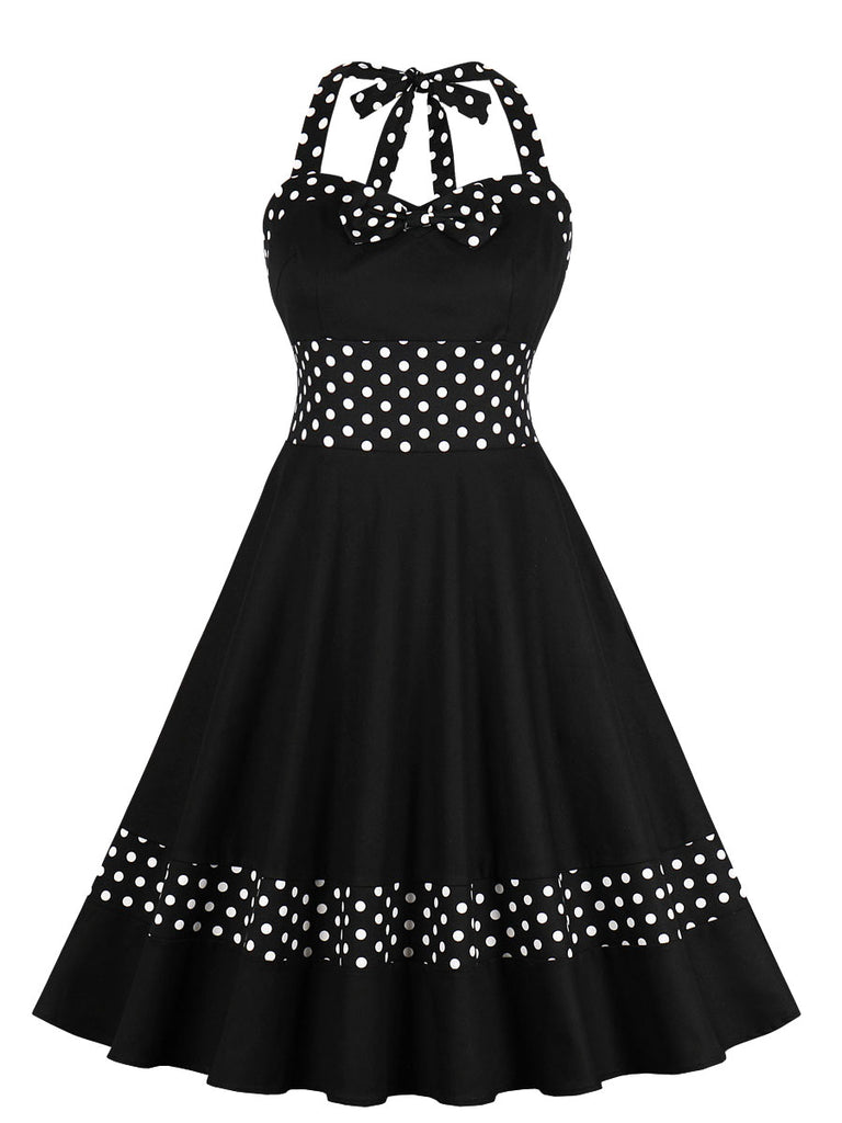 1950s Dress Polka Dot Patchwork Halterneck Dress