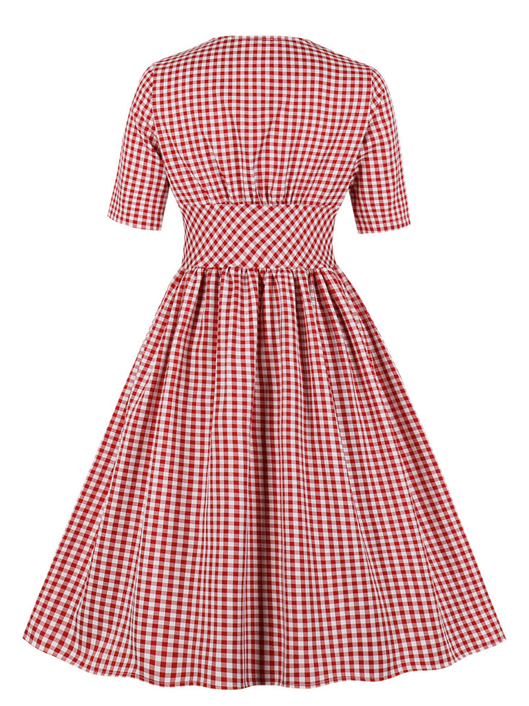 Vintage Dress Plaid V Neck Half Sleeve Midi Dress