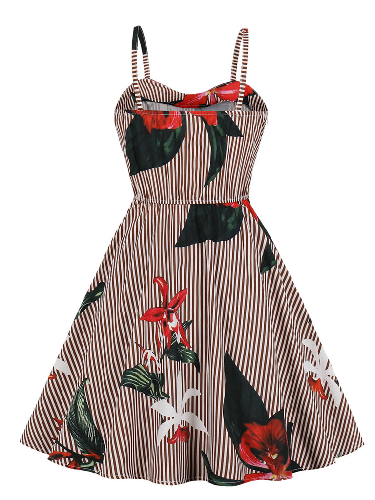1950s Dress Spaghetti Strap Floral Midi Dress