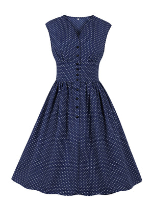 1940s Dress Polka Dot Sleeveless Vintage Old Navy Dress