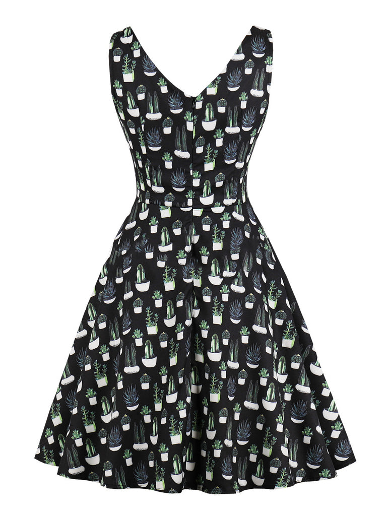 1940s Dress Cactus Print Sleeveless A-Line Dress