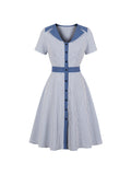 Vintage Dress Pinstripe Short Sleeve Dress