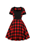 1940s Dress Plaid Square Collar Swing Dress