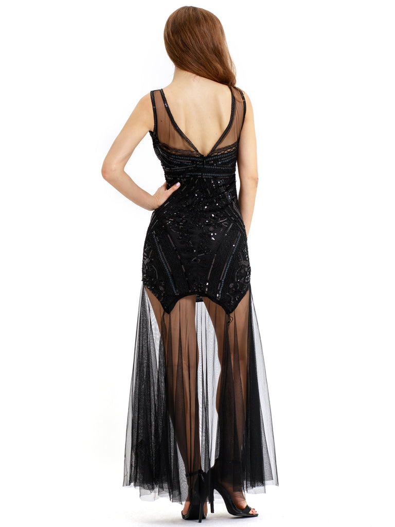Women's Flapper Dresses 1920s Sexy Backless Great Gatsby Dress
