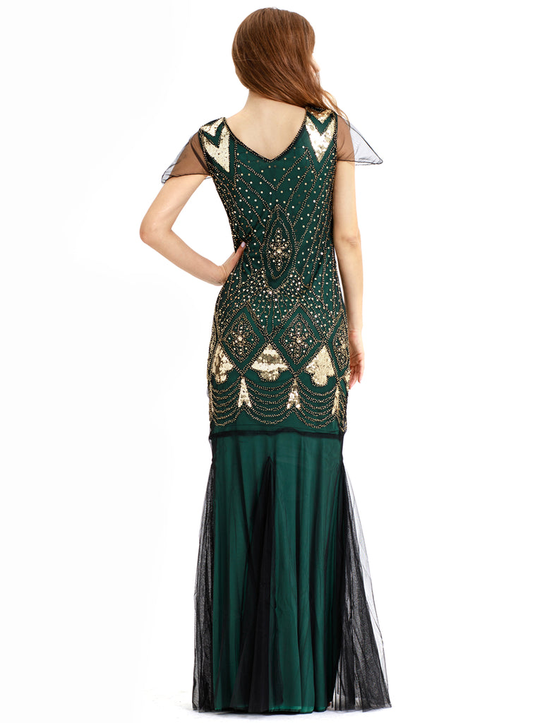 Long lace and sequins design 1920 Gatsby style vintage gorgeous dress