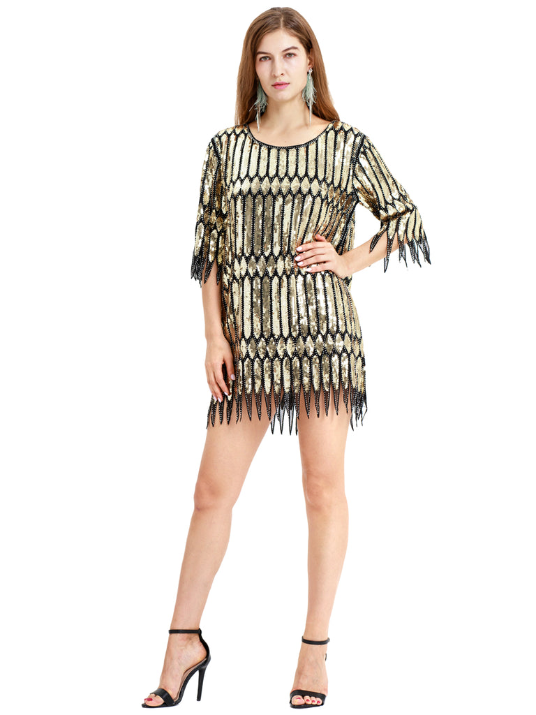 Golden pattern with tassels one-piece retro Gatsby modern skirt