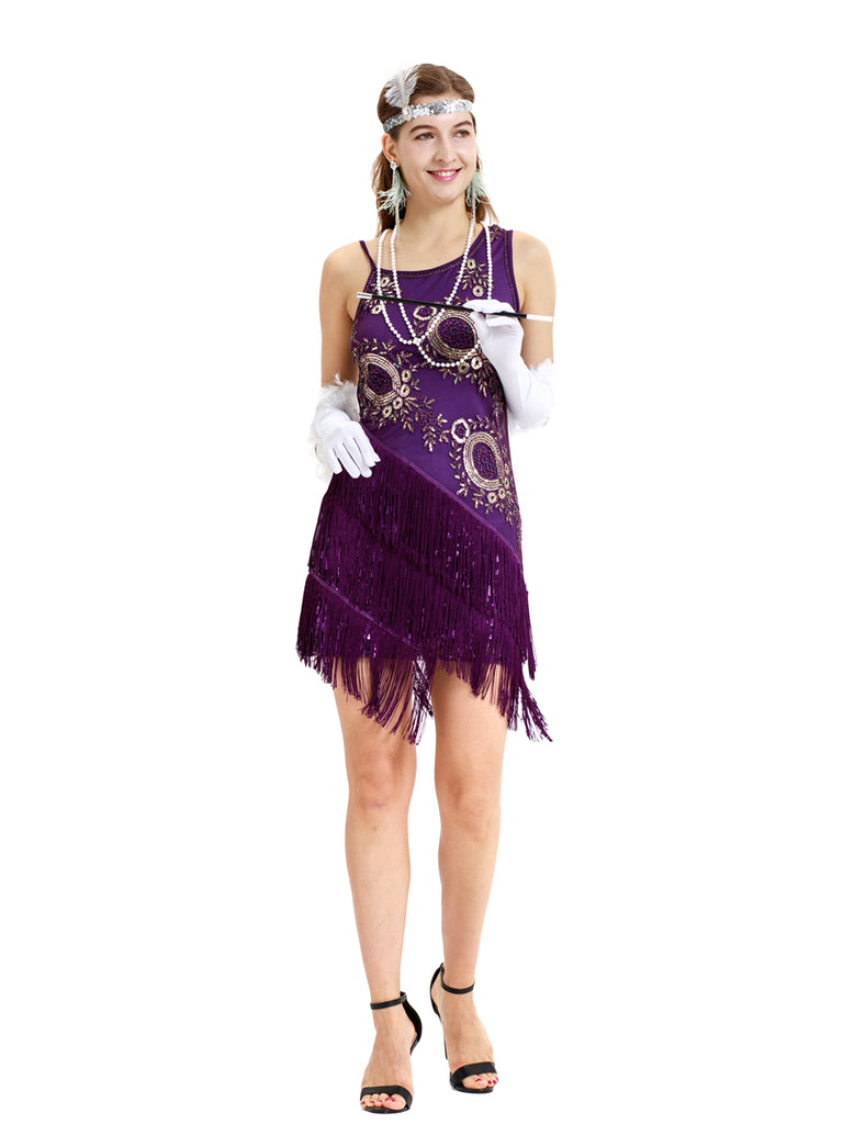 Elegant purple retro 1920s exquisite modern girl cocktail dress