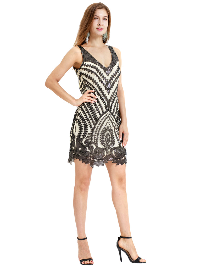 Paisley pattern sexy backless gorgeous retro 1920 one-piece dress
