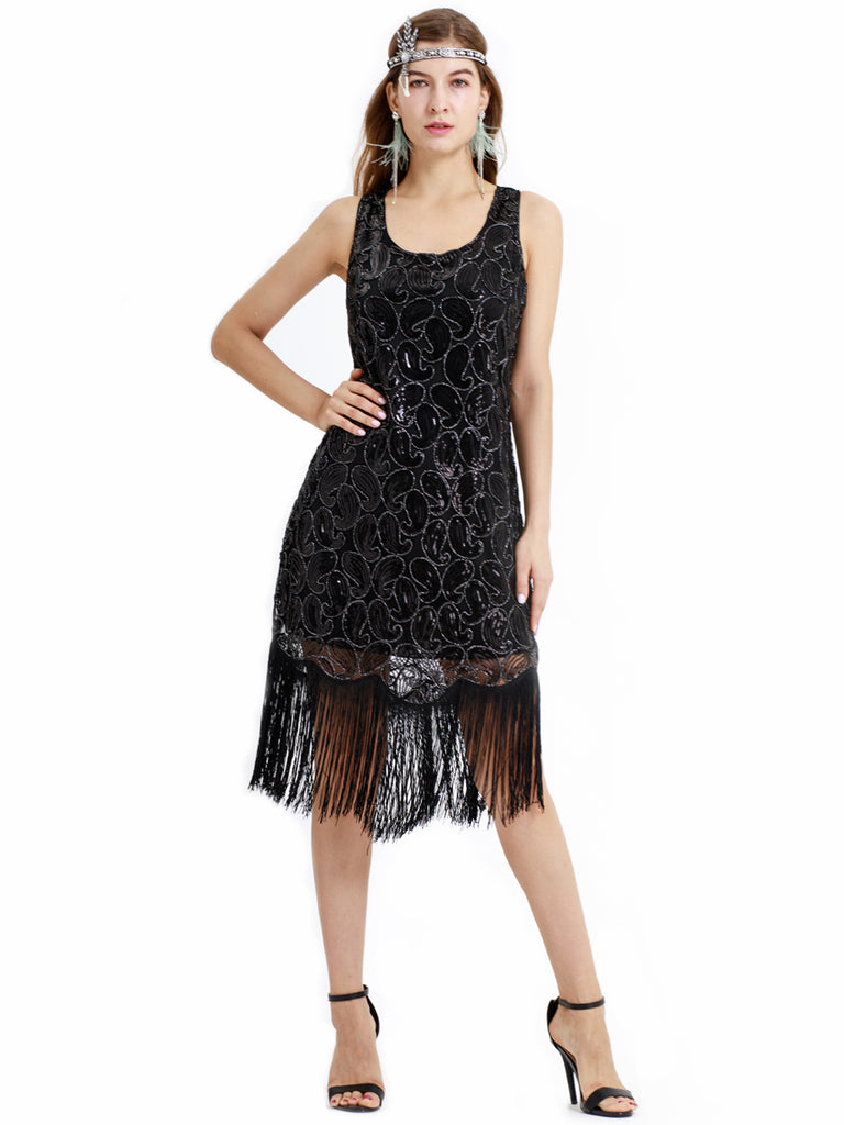 Rhinestone decorative sequins black retro 1920s modern dress