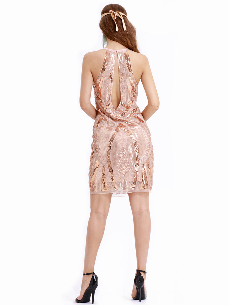 Sexy backless modern cocktail party fashion retro one-piece sequin dress